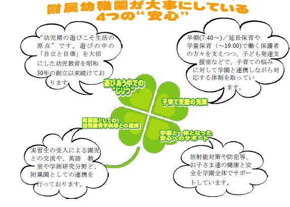 """附属幼稚園:四つの""""安心""""(入園案内より抜粋)"""
