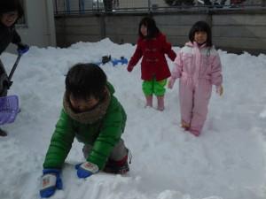 年少さんはせっせと雪玉作りを楽しんでいて…