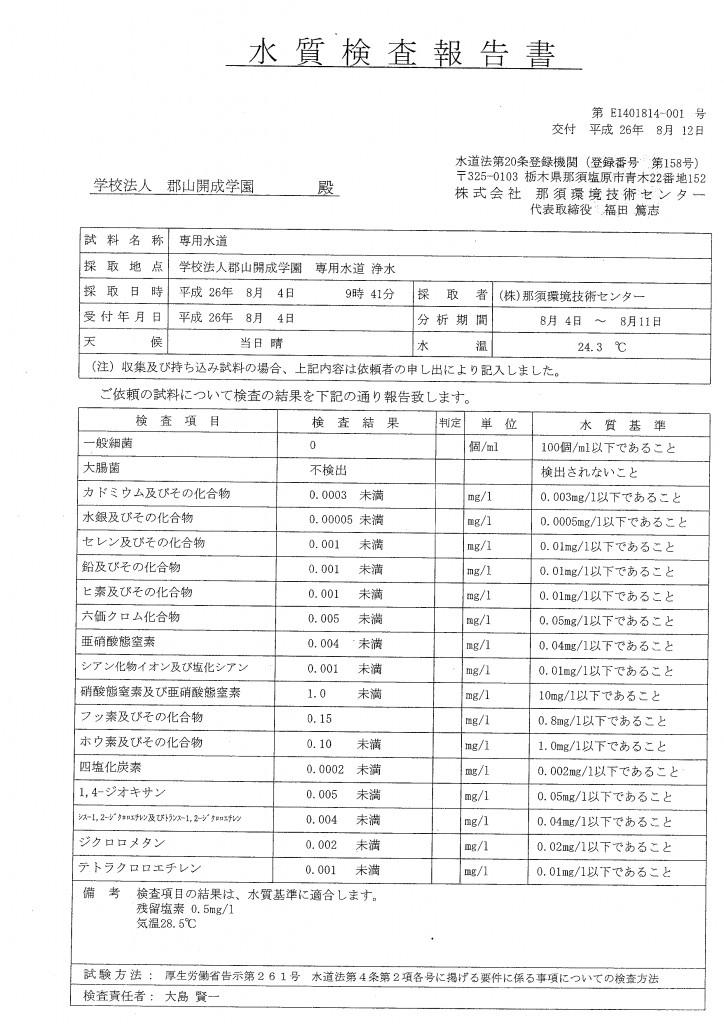 水質検査(外部・H26_9月)